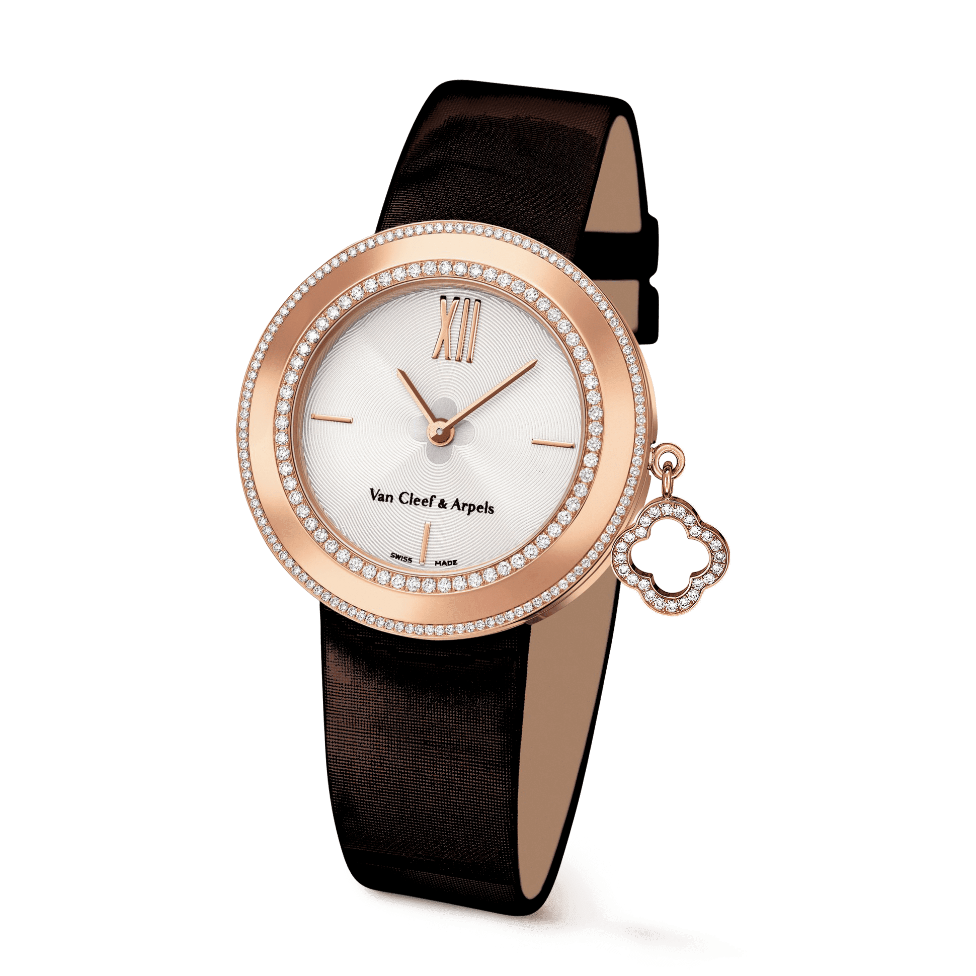 Charms watch, 32 mm,Satin,self interchangeable - 3|4 View - VCARM95000 - Van Cleef & Arpels