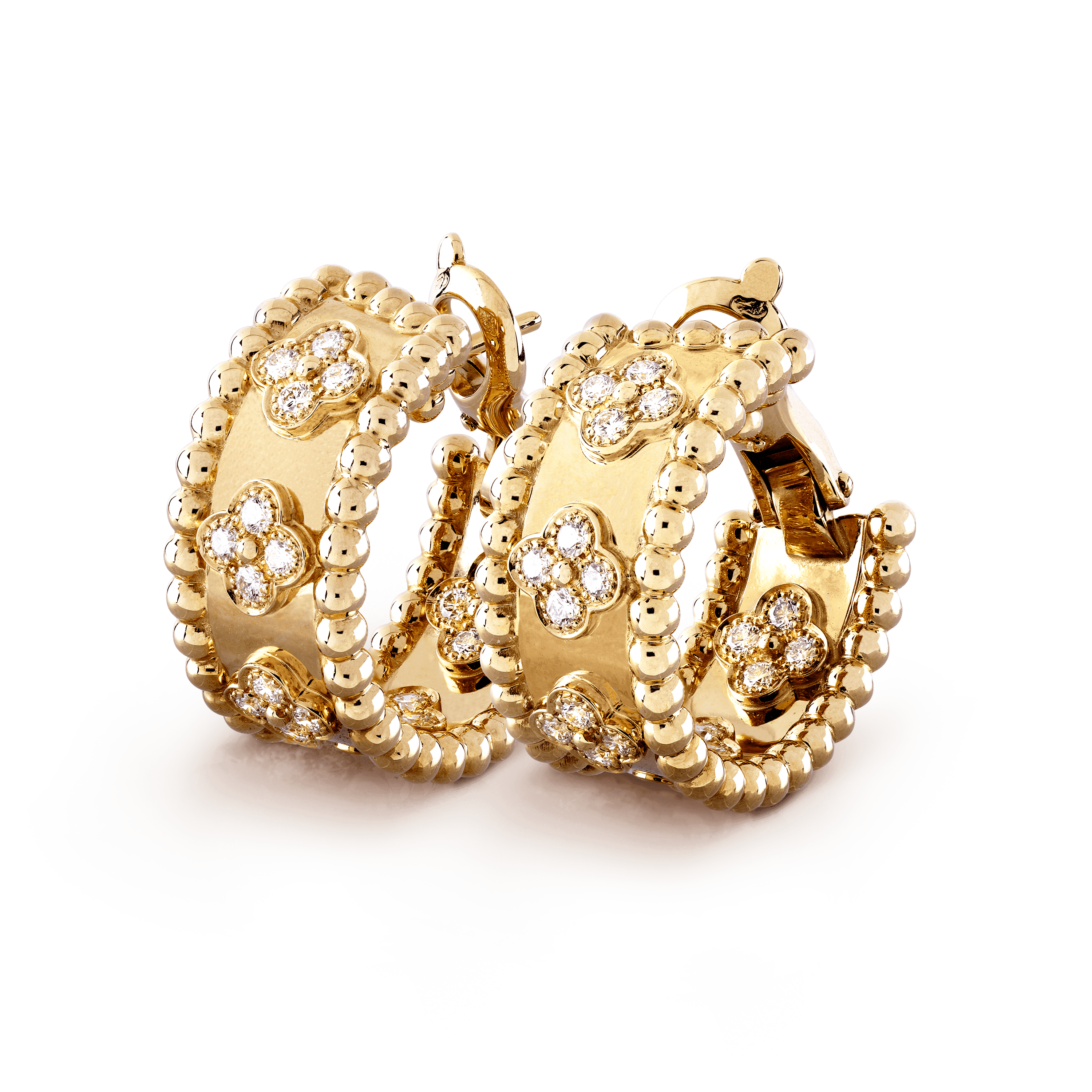 Perlée clovers hoop earrings, - 3|4 View - VCARO3YE00 - Van Cleef & Arpels