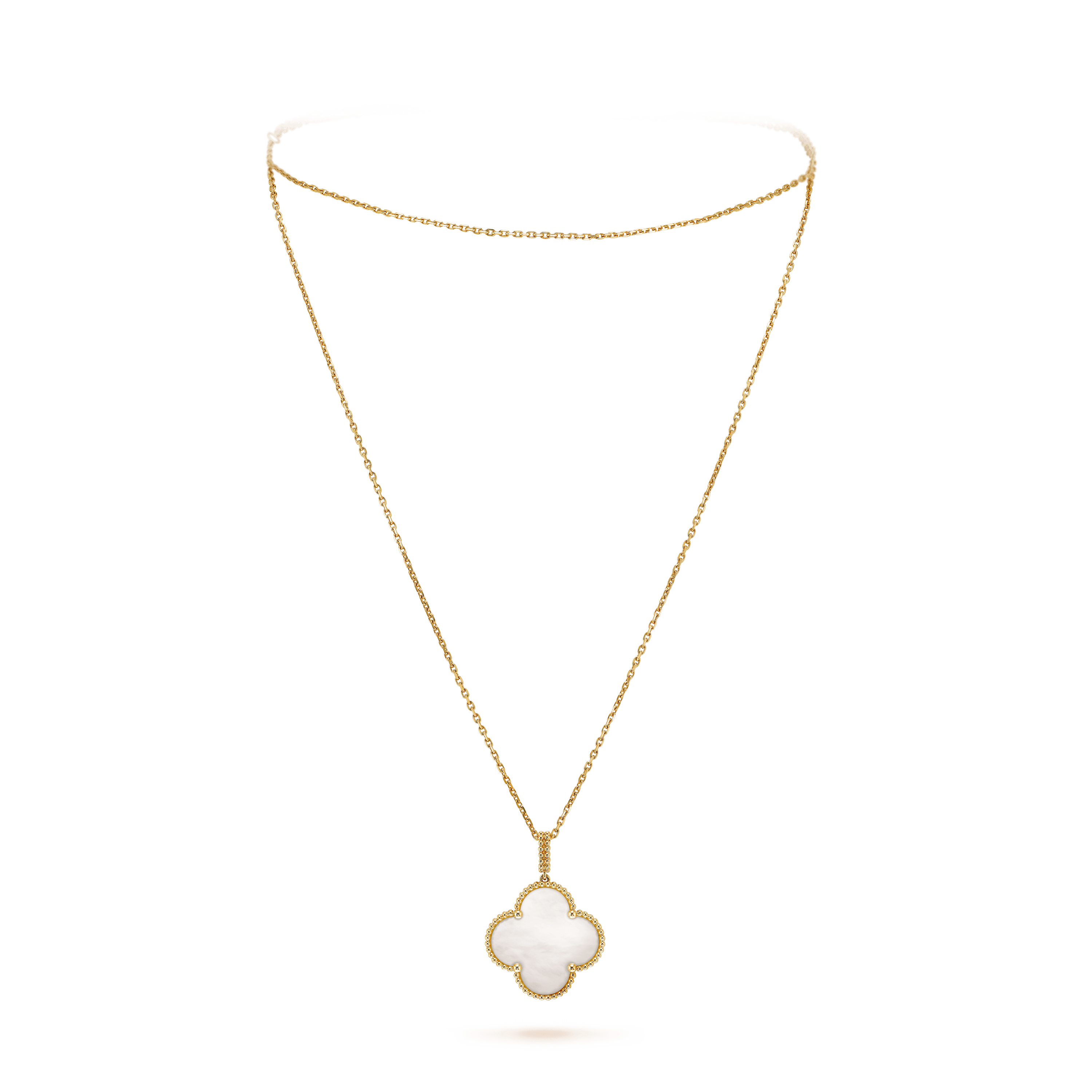 Magic Alhambra long necklace, 1 motif, - On Stand View - VCARO49L00 - Van Cleef & Arpels