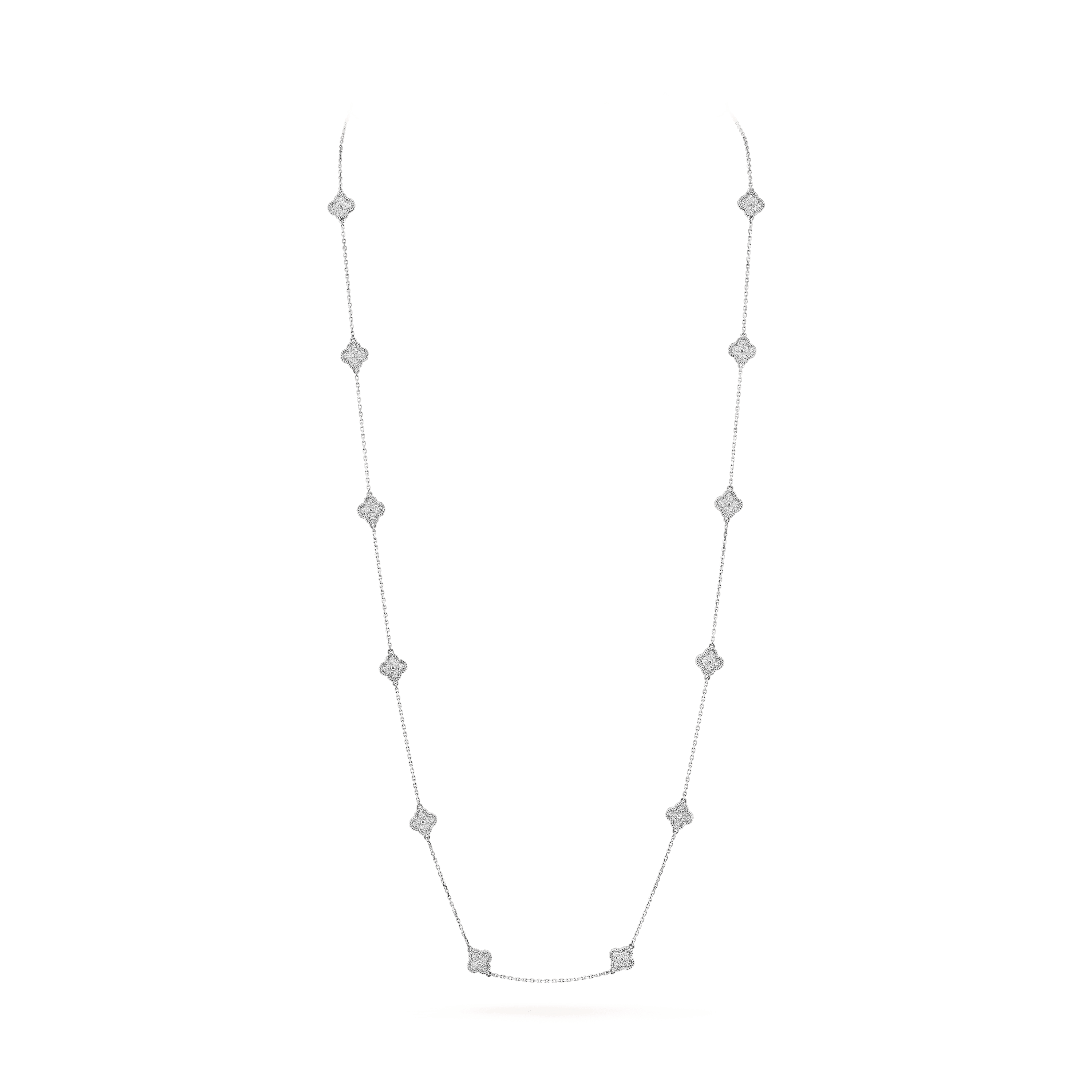 Sweet Alhambra long necklace, 16 motifs, - On Stand View - VCARO85A00 - Van Cleef & Arpels