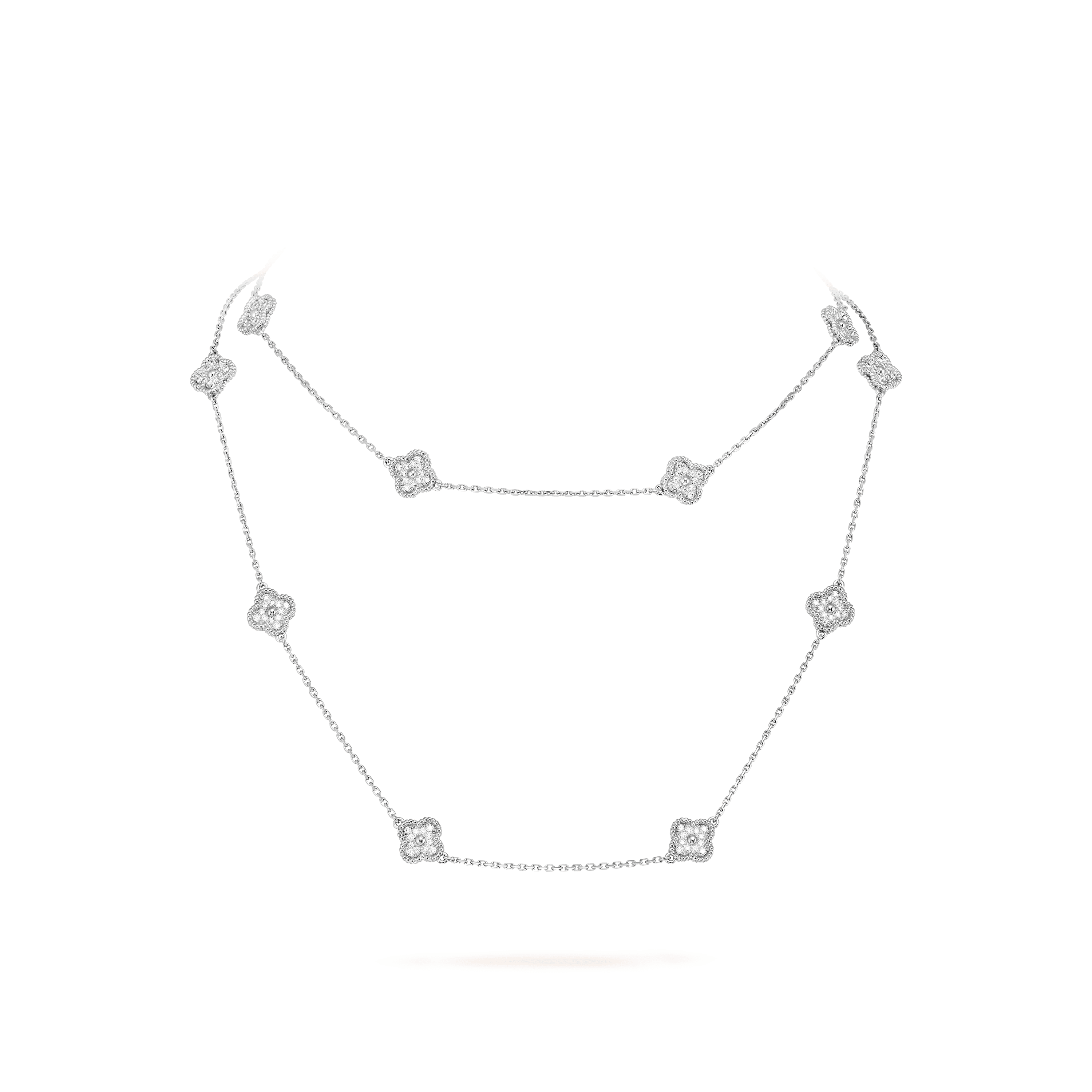 Sweet Alhambra long necklace, 16 motifs, - Detail View - VCARO85A00 - Van Cleef & Arpels