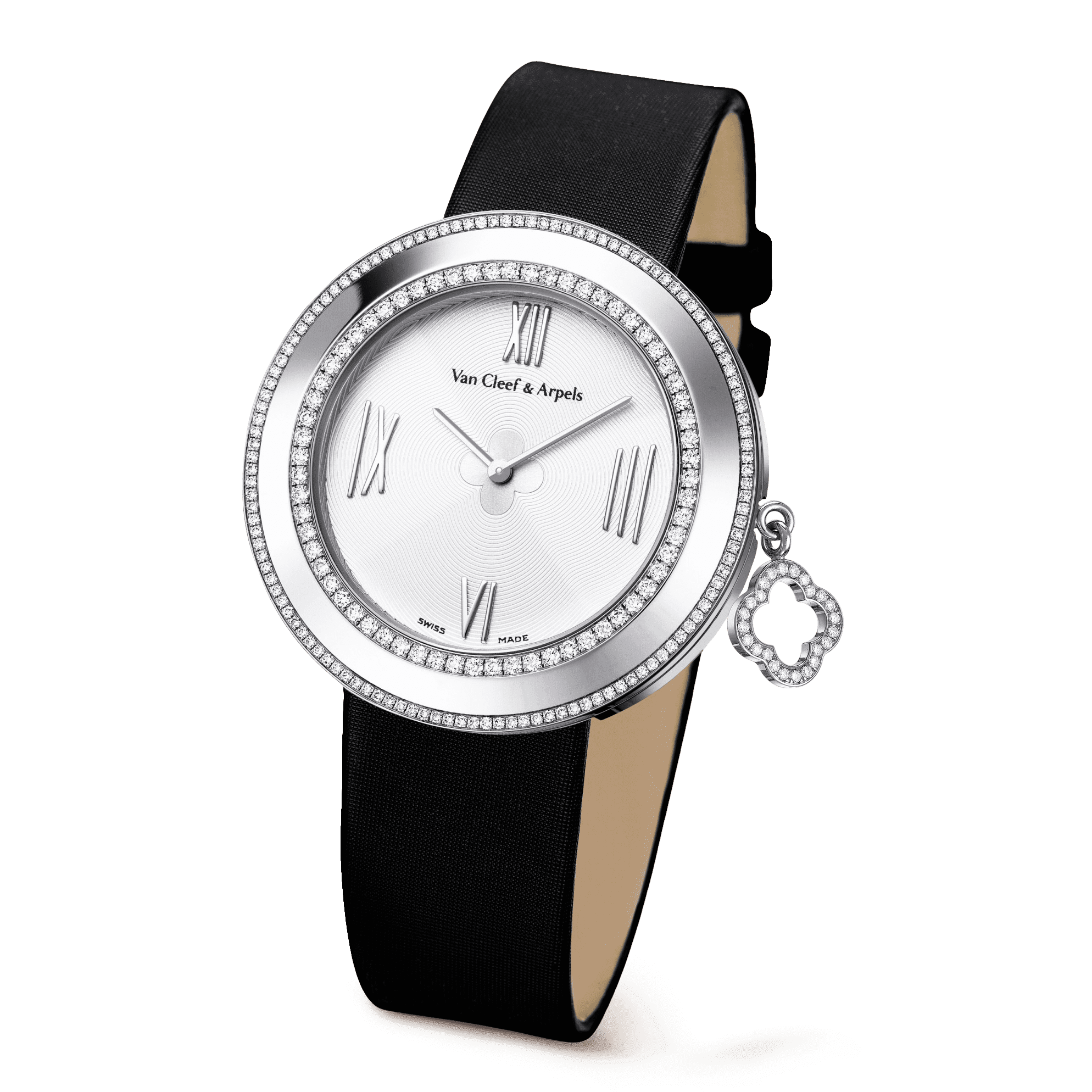 Charms watch, 38 mm,Satin,self interchangeable - 3|4 View - VCARM95500 - Van Cleef & Arpels